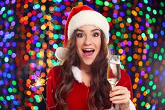 Kobieta z szkłem szampan Zdjęcia Royalty Free