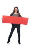 Kobieta z sztandarem Zdjęcie Stock