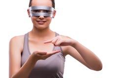 Kobieta z techno szkłami odizolowywającymi na bielu Zdjęcia Stock