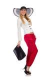 Kobieta z torbą w modzie Zdjęcia Royalty Free