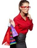 Kobieta z torba na zakupy obrazy stock