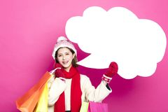 Kobieta z torba na zakupy i dialog znakami Obraz Stock