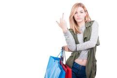 Kobieta z torba na zakupy na białym tle Obrazy Stock