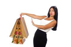 Kobieta z torba na zakupy na bielu Fotografia Stock