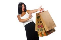 Kobieta z torba na zakupy na bielu Obrazy Stock