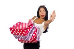 Kobieta z torba na zakupy na bielu Obrazy Royalty Free