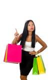 Kobieta z torba na zakupy na bielu Obraz Stock