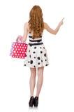Kobieta z torba na zakupy odizolowywającymi zdjęcie royalty free