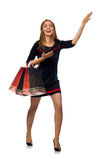 Kobieta z torba na zakupy odizolowywającymi na bielu Zdjęcie Stock