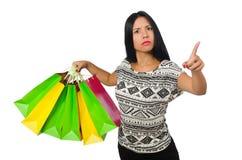 Kobieta z torba na zakupy odizolowywającymi na bielu Fotografia Royalty Free