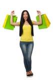 Kobieta z torba na zakupy odizolowywającymi na bielu Obraz Stock
