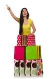Kobieta z torba na zakupy odizolowywającymi na bielu Obrazy Stock
