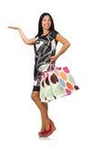 Kobieta z torba na zakupy odizolowywającymi na bielu Fotografia Stock