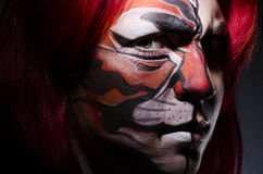 Kobieta z twarz obrazem Zdjęcie Royalty Free