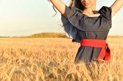 Kobieta z unraised włosy i arachidową suknią jest wśród wheat& x27; s banatka zdjęcia stock