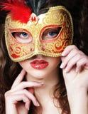 Kobieta z venetian maskaradową karnawał maską Obraz Royalty Free