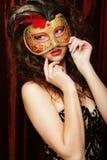Kobieta z venetian maskaradową karnawał maską Fotografia Stock