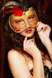 Kobieta z venetian maskaradową karnawał maską Obraz Stock