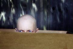 Kobieta z włosianą stratą od chemoterapii zerknięć out od pudełka Fotografia Stock