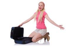 Kobieta z walizką łamającą w Zdjęcia Royalty Free