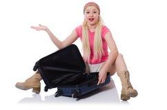 Kobieta z walizką łamającą w Zdjęcie Stock