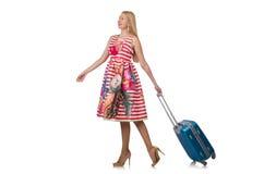 Kobieta z walizką Obrazy Royalty Free