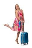 Kobieta z walizką Fotografia Royalty Free