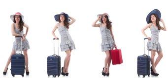 Kobieta z walizk? odizolowywaj?c? na bielu obrazy stock