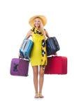 Kobieta z walizkami Obraz Royalty Free
