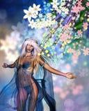 Kobieta z wiosna kwiatami Zdjęcie Royalty Free