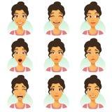 Kobieta z wyrazami twarzy ustawiającymi Obraz Royalty Free