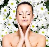 Kobieta z zdrową skórą twarz Obraz Stock