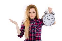 Kobieta z zegarem odizolowywającym Zdjęcia Stock