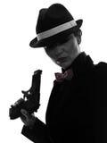 Kobieta zabójcy armatnia gangsterska sylwetka Fotografia Stock