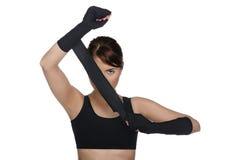 Kobieta zakrywa jeden oko boksu bandaże Fotografia Royalty Free