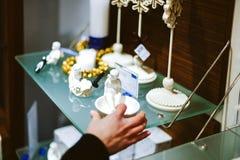 Kobieta zakupy wśrodku Villeroy & Boch ceramicznej porcelany Fotografia Stock