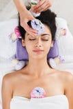 Kobieta ziołowego balowego masaż w ayurveda zdroju wellness centrum Obraz Royalty Free