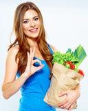 Kobieta zwycięzca z zielonym jedzeniem pojęcie diety Fotografia Royalty Free