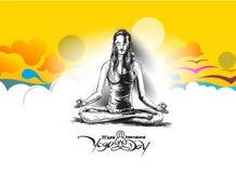 Kobiety ćwiczy joga pozę - 21st Czerwa joga międzynarodowy dzień Obrazy Royalty Free