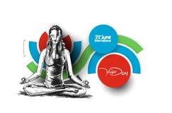 Kobiety ćwiczy joga pozę - 21st Czerwa joga międzynarodowy dzień Zdjęcie Royalty Free