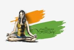 Kobiety ćwiczy joga pozę - 21st Czerwa joga międzynarodowy dzień Fotografia Stock