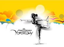 Kobiety ćwiczy joga pozę - 21st Czerwa joga międzynarodowy dzień Zdjęcia Stock