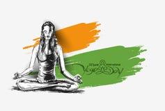 Kobiety ćwiczy joga pozę - 21st Czerwa joga międzynarodowy dzień Obrazy Stock