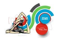 Kobiety ćwiczy joga pozę - 21st Czerwa joga międzynarodowy dzień Ilustracji