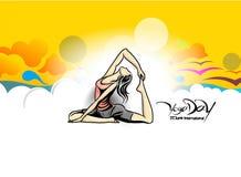 Kobiety ćwiczy joga pozę - 21st Czerwa joga międzynarodowy dzień Royalty Ilustracja