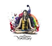 Kobiety ćwiczy joga pozę - 21st Czerwa joga międzynarodowy dzień Ilustracja Wektor