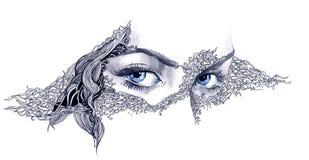 Kobiety abstrakcjonistyczna twarz Obrazy Royalty Free