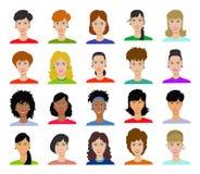 Kobiety avatar ustalona wektorowa ilustracja Zdjęcie Stock