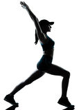 Kobiety biegacza jogger rozciąganie grże grzać zdjęcia royalty free