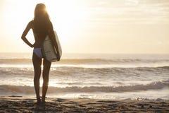 Kobiety Bikini Surfingowiec & Surfboard Zmierzchu Plaża Obrazy Royalty Free
